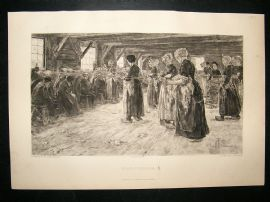 A.Kruger  1893 etching after Liebermann. 'Flax Spinners'. Art Journal